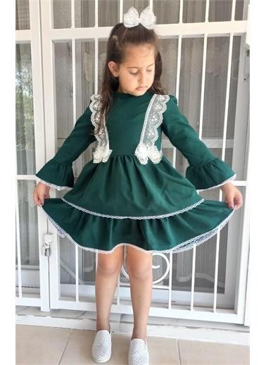 Riccotarz Kız Çocuk Sweet Girl Dantel İşlemeli Yeşil Elbise Yeşil